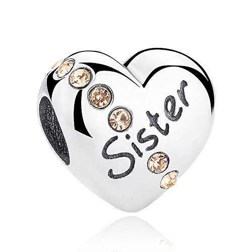 Everbling Family and Love Family Members Mom Dad Daughter 925 Sterling Silver Charm Fits European Charm Bracelet (Sister)