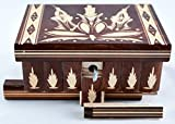 This wooden box features artistic design and aesthetic looks that exemplifies uniqueness of class and functionality. The most fascinating aspect of this charismatic box is its opening system that remains secret for an ordinary viewer. This beautiful ...