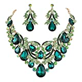 BriLove Gold-Toned Statement Necklace Dangle Earrings Jewelry Set for Women Bohemian Boho Crystal Teardrop Filigree Leaf Hollow Jewelry Set Emerald Color