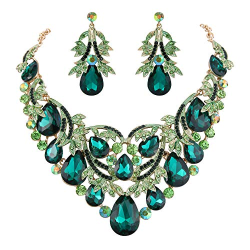 BriLove Gold-Toned Statement Necklace Dangle Earrings Jewelry Set for Women Bohemian Boho Crystal Teardrop Filigree Leaf Hollow Jewelry Set Emerald Color ()