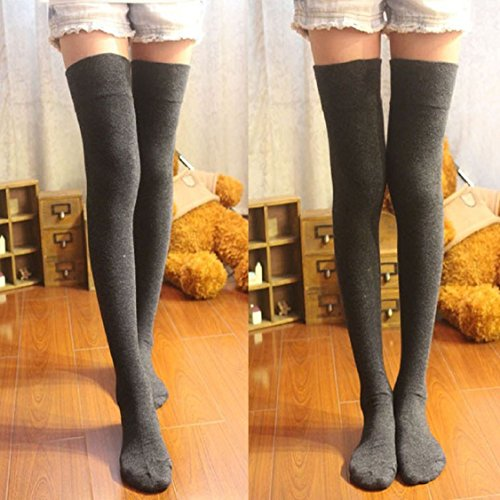 Womens Winter Stockings, Egmy Newest 1 Pair Newly Fashion Sexy Cotton Over The Knee Socks Thigh High Stocking Thinner Grey