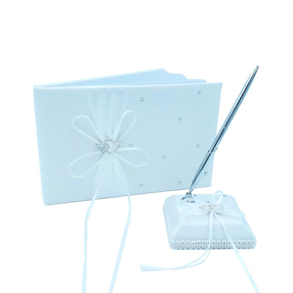 Abbie Home Ribbon Bowknot Wedding Guest Book + Pen Stand + Pen Set Double Heart Rhinestone Décor Party Favor-Milk White by Abbie Home