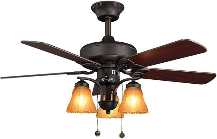 Luz del Ventilador del Techo del jardín del país del Hierro Forjado luz del Ventilador eléctrico salón luz del Ventilador del Restaurante lámpara del Ventilador: Amazon.es: Hogar