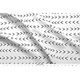 Spoonflower Mudcloth Fabric Mudcloth Inspired Zig Zag - Black And White Fabric by Charlottewinter Printed on Lightweight Cotton Twill Fabric by the Yard