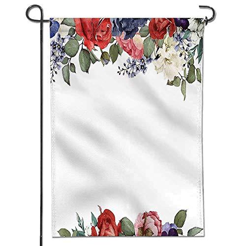 Summer Garden Flag Double-Sided,Wedding Valentines Inspired Mix Rose Peony Petals Wreath Elegance Design Multicolor Yard (Mix Yard Design)