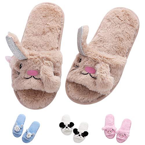 Unicorn Open Toe Slippers Animal Bunny Cute Cozy Fleece Cartoon Indoor Home for Women