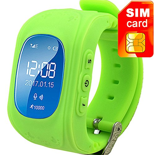 TURNMEON Smart Watch for Kids Children Smartwatch Phone with SIM Calls Anti-lost GPS Tracker SOS GPRS Bracelet Parent Control for Smartphone (Green)