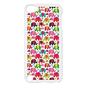 Cute Colorful Elephants Protective Hard PC Back Fits Cover Case for iPod Touch 5, 5G (5th Generation)