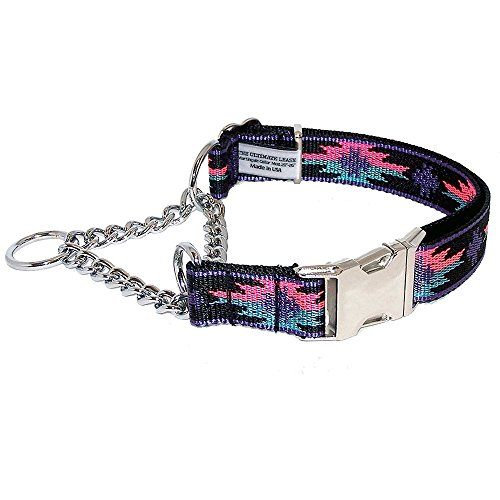 le Dog Collar | Made in the USA | Adjustable, Small, Medium, Large, Top Quality, Premium, Heavy Duty, Durable, Strong, Nickel Plated Steel, Wide, Training - The Ultimate Leash (Plated Martingale Humane Choke Collar)