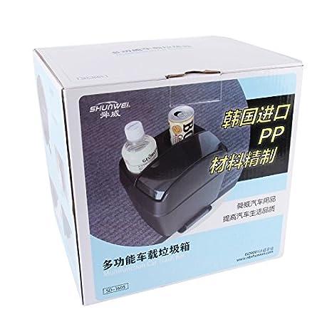 Wewoo Shunwei sd-1605 Multifunción 3 en 1 Coche portavasos Bebida Botella Puede Basura Portátil vehículo Trash Can Bin Basura Bin Organizador Negro: ...