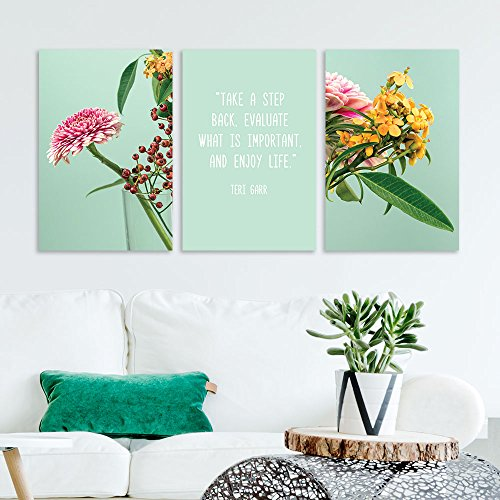 3 Panel Various Kinds of Flowers with Inspirational Quotes x 3 Panels