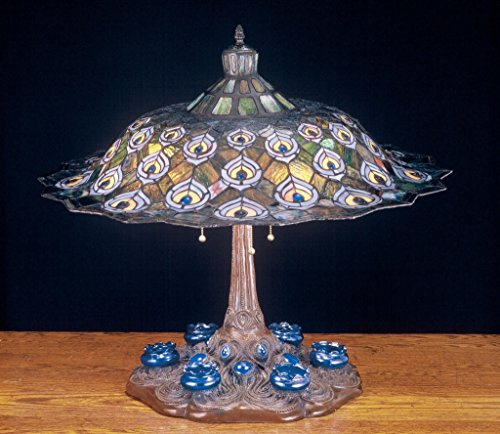 (26.5 Inch H Tiffany Peacock Feather Table Lamp , Table Lamps , Meyda)