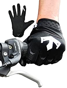 Estorager Cycling Gloves Gel Padded Mountain Bike Road Racing Bicycle Gloves Rubber Protector Thickened Palm Touch Screen (BK, M)