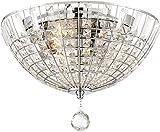 Minka Lavery Flush Mount Ceiling Light 2347-77 Braiden Low Profile Fixture, 3-Light 180 Watts, Chrome