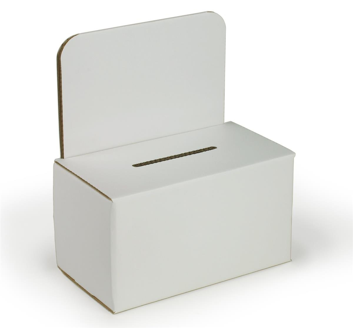 Displays2go Small Suggestion/Corrugated Ballot Box with Sign Holder, Set of 25, White (WCSBBV2)