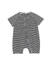 Summer Newborn Baby Boys Girl Striped Pink Short Sleeve Romper Jumpsuit Bodysuit