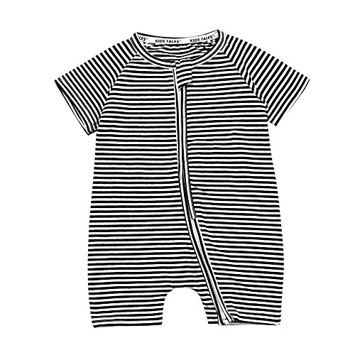 (Kids Tales Toddler Baby Girls Striped Short Sleeve Zipper Romper Infant 1Piece Pajama Onesies Black)