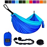 Gold Armour Camping Hammock - XL Double Parachute Camping Hammock (2 Tree Straps 16 LOOPS/10 FT Included) Lightweight Nylon Portable Hammock, Best Parachute Double Hammock (Blue and Sky Blue)