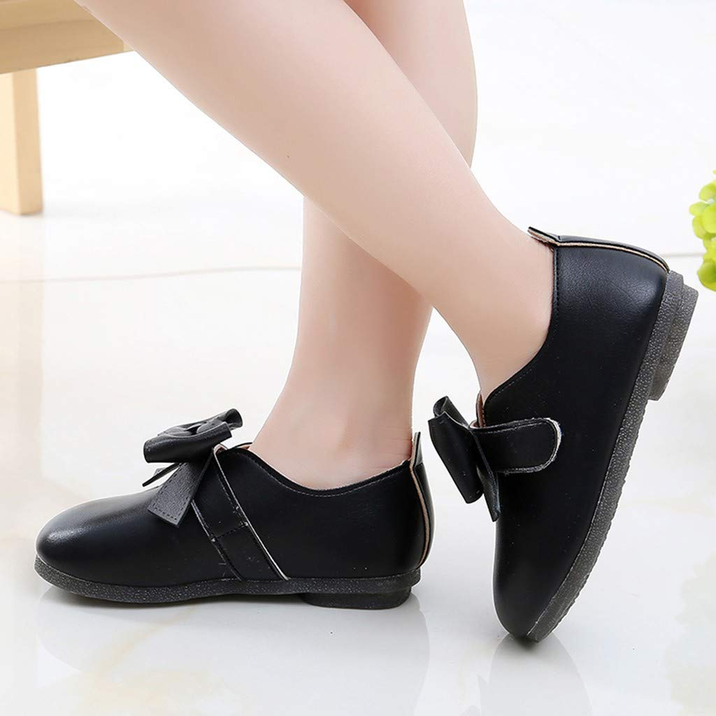 Children Princess Sandals Kids Baby Girls Pumps Student Solid Bowknot Dance Shoes Soft Sole Lightweight Closed Toe Shoes Casual Single Shoes Court Shoes