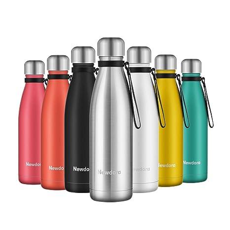 Newdora - Botella de Agua Acero Inoxidable 500ml, Aislamiento de Vacío de Doble Pared, Botellas de Frío/Caliente, con 1 un Cepillo de Limpieza, para ...