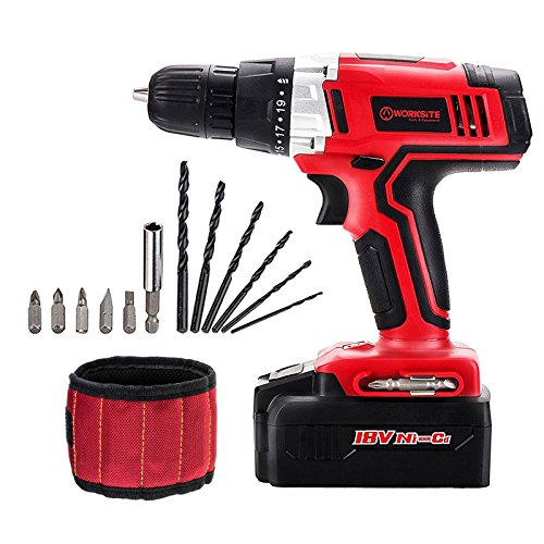 Buy Bargain Cordless Drill ScrewDriver WORKSITE CD312-18N 18-Volt 1200mA Ni-cd Battery Powerful Elec...