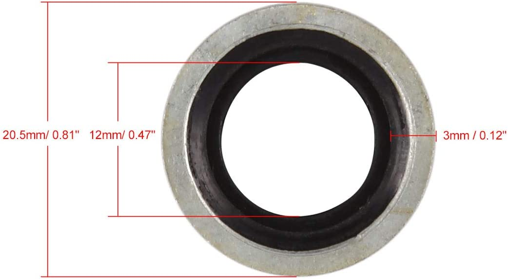 X AUTOHAUX 10pcs 12 x 20.5 x 3mm G1//4 BSP Car Engine Oil Drain Crush Flat Bonded Washer Seal Gaskets