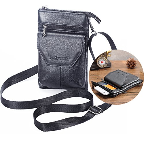 Cell Phone Crossbody Purse iPhone 7 Plus Pouch with Belt Clip, Leather Belt Case Holster Small Shoulder Bag/ Waist Bag (Iphone Purse Crossbody)