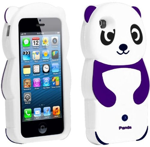 Leegoal(TM) Purple/White Cute 3D Panda Silicone Rubber Soft Case Cover Fit for the New iPhone 5 5S With Accessories Sreen Protector,Anti Dust Plug