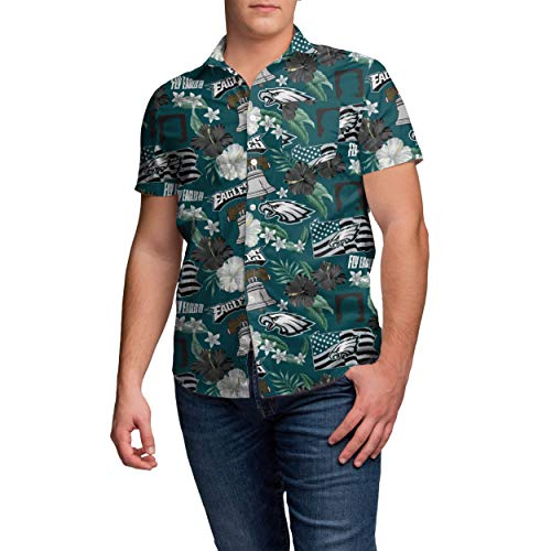 NFL Philadelphia Eagles Mens Thematic Print Tropical Floral Button Up ShirtThematic Print Tropical Floral Button Up Shirt, Team Color, XXL]()