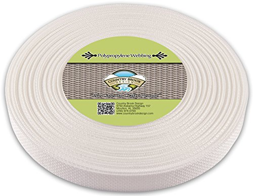 Country Brook Design | Polypropylene Webbing (1 Inch) (White, 25 Yards)