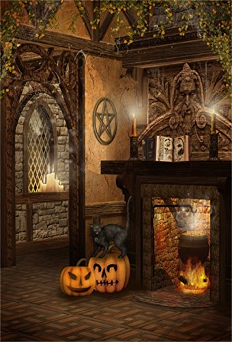 Halloween Wallpaper Windows 7 (Laeacco Halloween Theme Backdrop 5x7ft Vinyl Photography Background Fantasy Witch's Room Interior Vined Ceiling Black Cat Pumpkin Lamps Fireplace Candles Arch Window Greeting Party Child Baby)