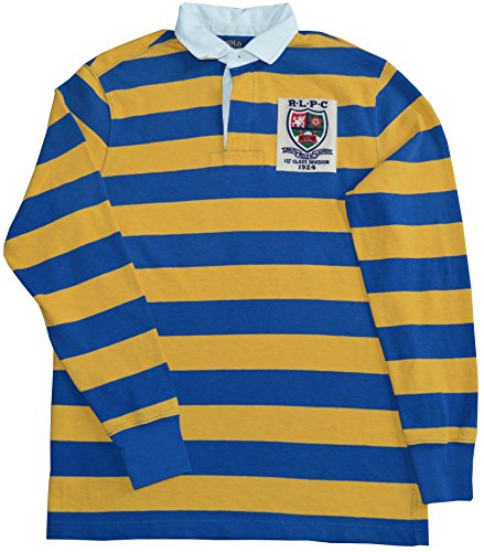 Polo Ralph Lauren Men's Custom-Fit ''RLPC''-Crest Striped Rugby Shirt-NY-M by Polo Ralph Lauren