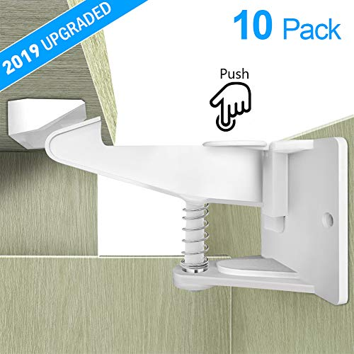 Child Safety Cabinet Locks Latches, Minkle Invisible Design Kids Baby Proof Safety Locks with 3M Adhesive, No Drilling Tools Needed(10 Pack)