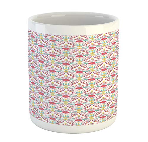 Ambesonne Antique Mug, Motifs with Flowers Butterflies and Leaves Timeless Middle Eastern Design, Printed Ceramic Coffee Mug Water Tea Drinks Cup, Multicolor