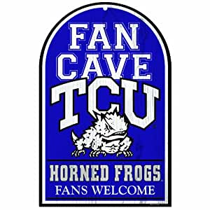 NCAA Texas Christian Horned Frogs 11-by-17 Inch Wood Sign Traditional Look