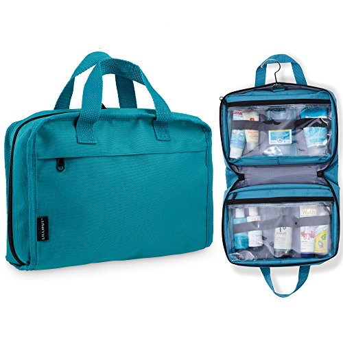 Hanging Toiletry Bag & Cosmetic Organizer - Large Size, See-Through & Lightweight (Medium Teal) by Lilliput