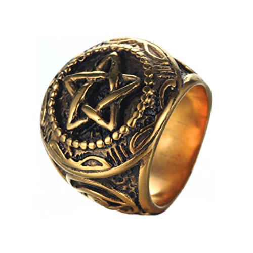 OAKKY Men's Stainless Steel Vintage Five-pointed Star Eye of God Ring Pentagram Design Gold