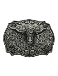 Western Cowboy 4x3 inches Belt Buckle Texas Longhorn Bull Buckles Grey