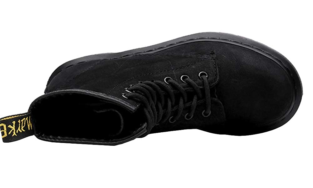Liveinu Men Women Couple Chukka Boots Winter Leather Lace Up Martin Boots Ankle Bootie Matte Black
