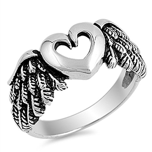 Cutout Heart Angel Wings Biker Ring New .925 Sterling Silver Band Size 8