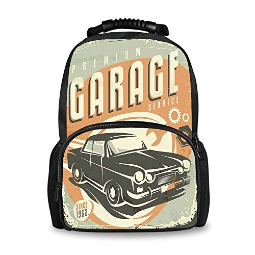 - Man Cave Decor Adorable School Bag,Promotional Retro Design Auto Mechanic Car Service Concept Nostalgic Vehicle for Boys,12