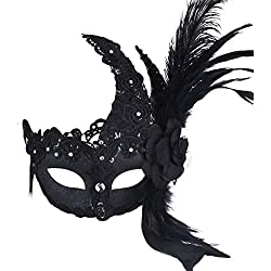 Black Feather Masquerade Mask Party Mask with Flower Lace Decor