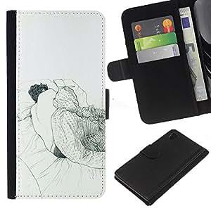 Be-Star la tarjeta de Crédito Slots PU Funda de cuero Monedero caso cubierta de piel Sony Xperia Z4v / Sony Xperia Z4 / E6508 ( Sleeping Dream Art Drawing Pencil Man Bed )