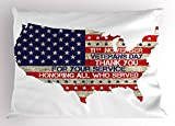 Lunarable Veteran Pillow Sham, 11th November Veterans Day American Flag with Country Map Outline, Decorative Standard Size Printed Pillowcase, 26 X 20 inches, Navy Blue Ivory Vermilion