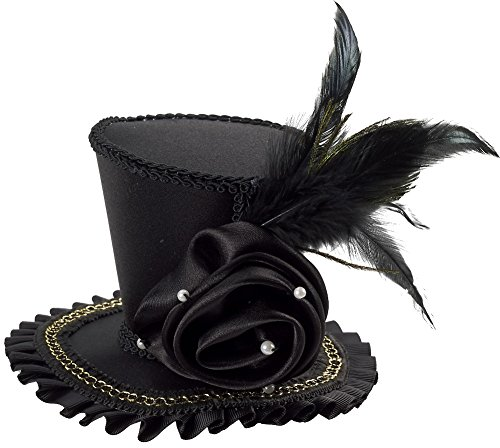 Black And White Mini Rose Top Hat (Forum Novelties Women's Mini Top Hat with Rose Costume Accessory, Black, One Size)