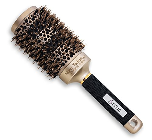 Brazilian Heat Thermal Ceramic (STYLIC Special Edition Nano Heat Thermal Ionic & Ceramic Round Barrel Hair Brush for Straightening, Curling and Styling, 2 Inch, Protective Case Included)