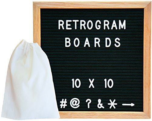 Vintage Felt Changeable Letter Board: 10 by 10 Inches Oak Wood Frame with 290 ¾ Inch Helvetica White Letters, Numbers and Punctuation, Mounting Hook, Construction, Plus Free Letter Bag