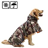 Pet Raincoat Leisure Waterproof Clothes Lightweight Camouflage Rain Jacket Poncho with Strip Reflective for Large Medium Dog