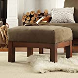 Hills Mission-style Oak and Olive Rectangular Ottoman, Made From Microfiber Fabric, Spring Cushion, Perfect in a Living Room, Family Room, or Den