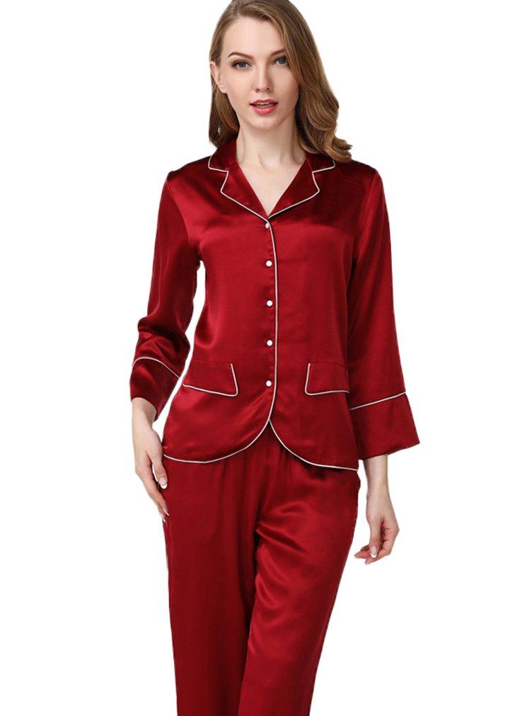 Colorful Silk Luxury Silk Pajamas Sets Homewear Beautiful Gifts Burgundy M
